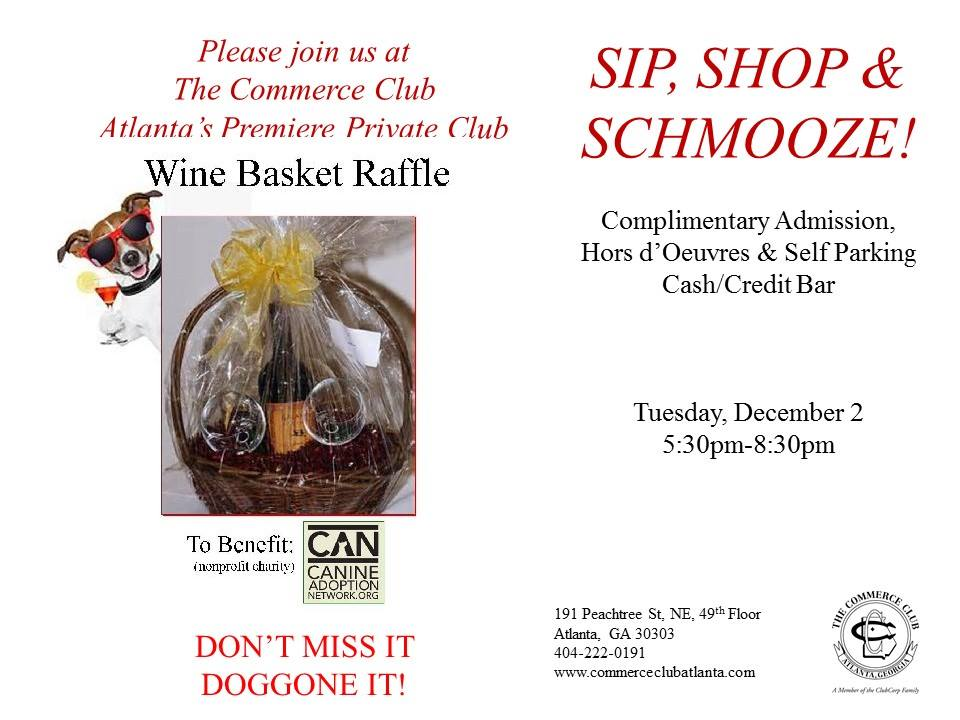 Sip, Shop & Schmooze! to Benefit CAN Georgia Canine Adoption Network